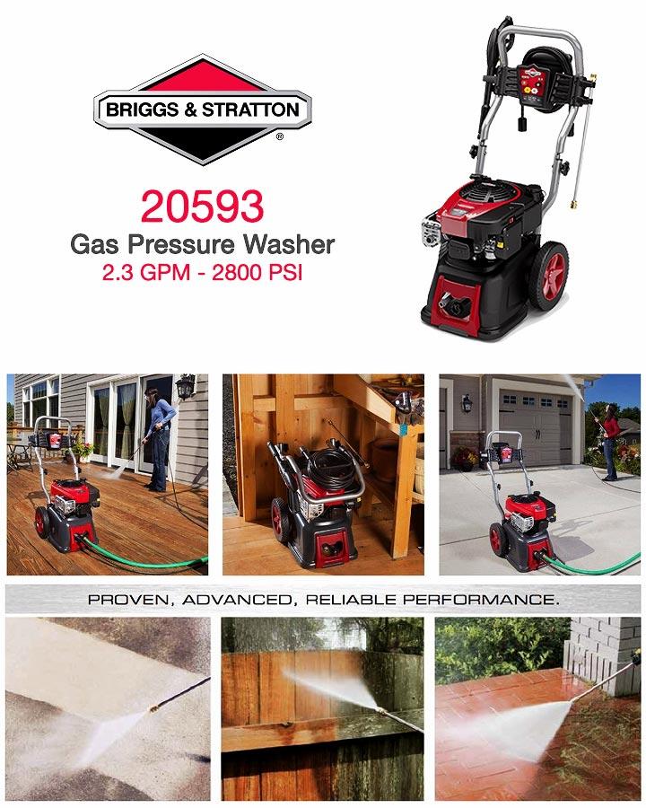 Infographic Briggs & Stratton 20593 2.3 GPM Gas Pressure Washer