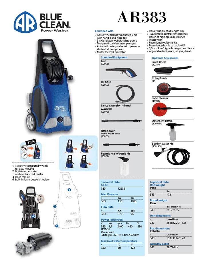 Infographic AR Blue Clean AR383 Electric Pressure Washer with Hose Reel