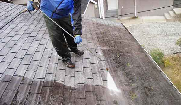 Pressure Washing Moss Off a Roof