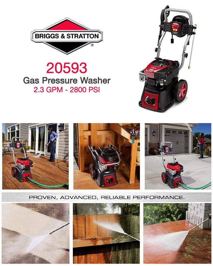 Infographic Briggs & Stratton 20593 2.3 GPM Gas Pressure Washer