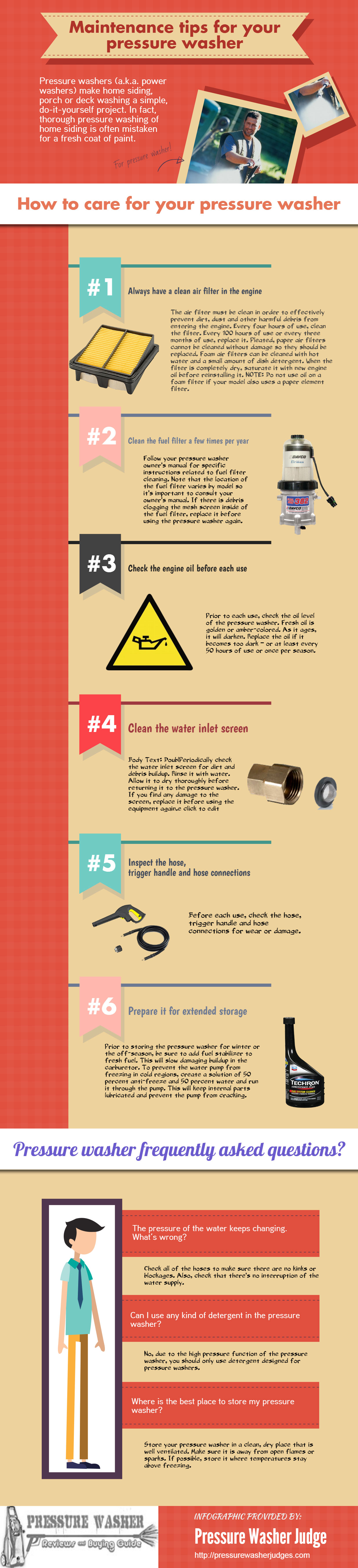 Infographic Maintenance tips for your pressure washer